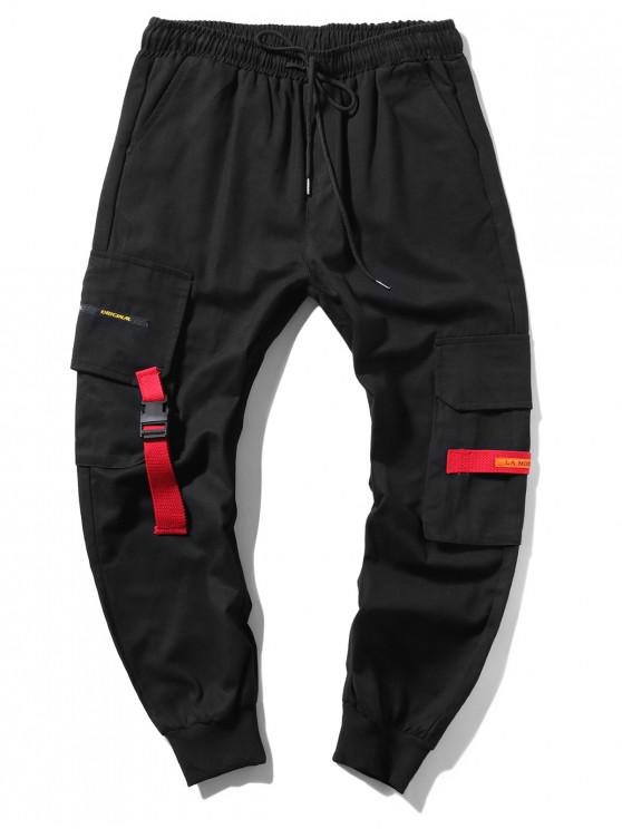 best Applique Long Cargo Jogger Pants - BLACK S