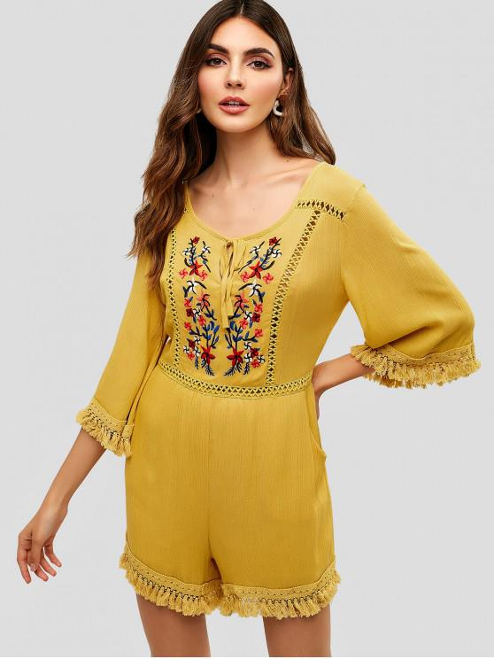 best Cut Out Floral Embroidered Tassels Romper - GOLDENROD S
