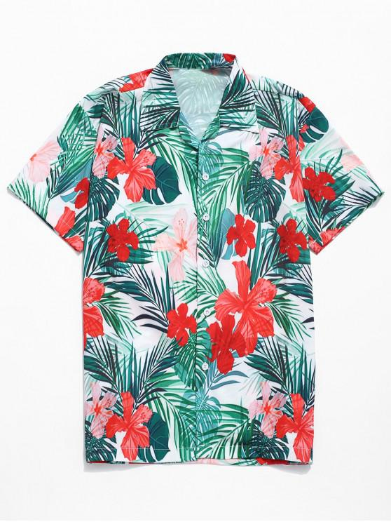 lady Hawaii Tropical Flowers Plant Print Beach Shirt - MULTI XL