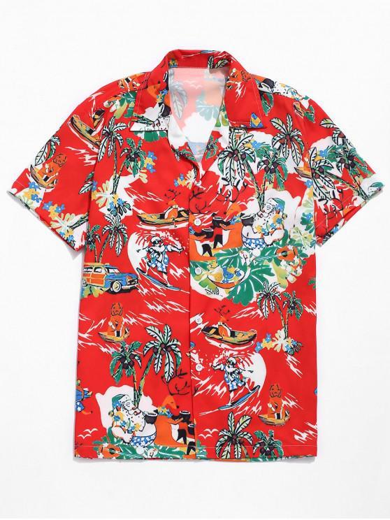 hot Hawaii Seaside Sports Scenery Print Beach Shirt - RED L