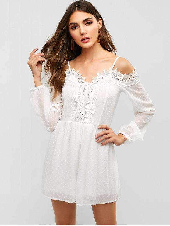fancy Lace Panel Embellished Cami Romper - WHITE L