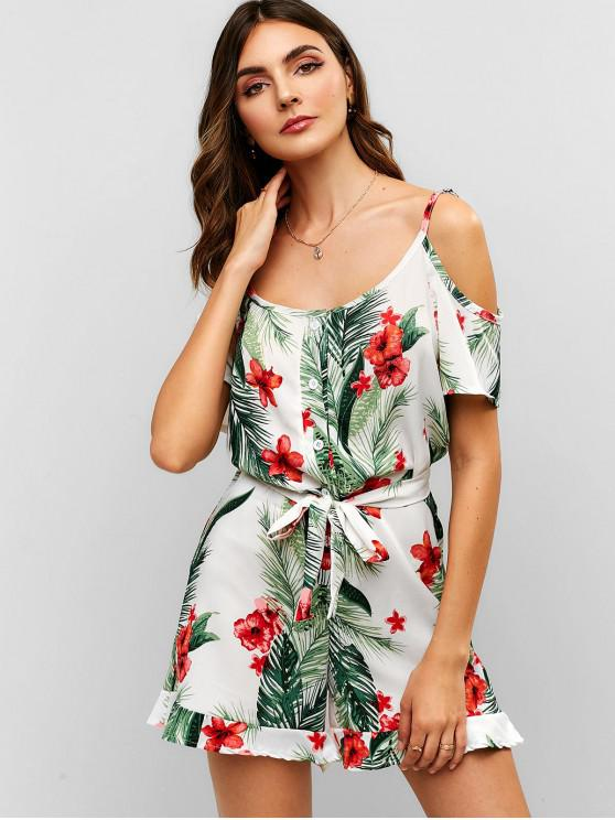 shops Floral Leaves Ruffles Cold Shoulder Romper - WHITE M
