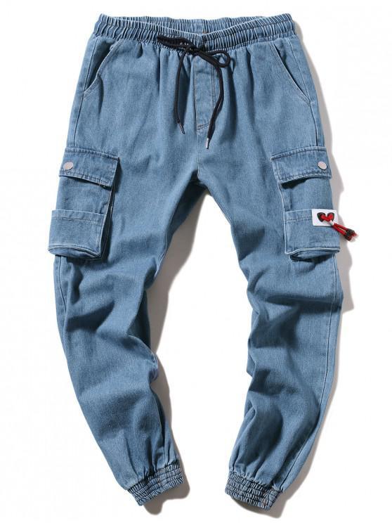 Solid Color Lässige Jeans Jogger - Denim Blau M