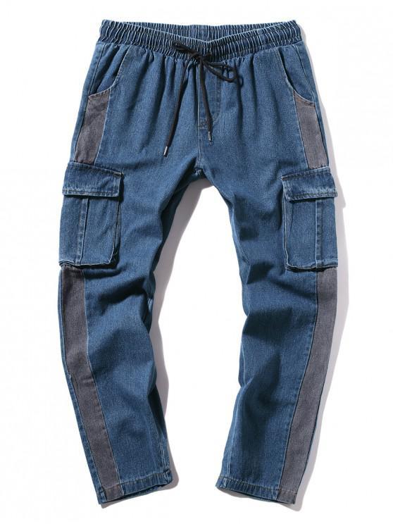 Lange gerade Farbblock-beiläufige Jeans - Jeans Blau S