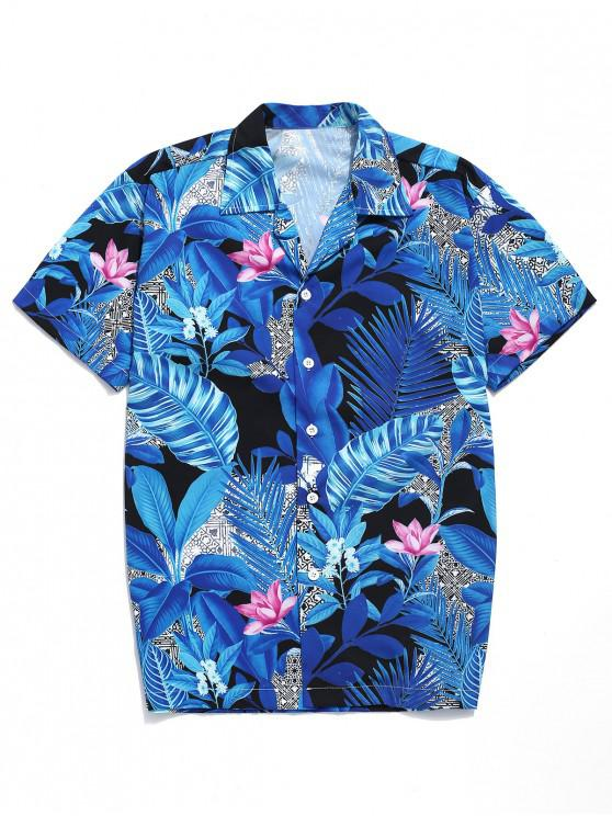 women's Hawaii Tropical Plants Print Beach Casual Shirt - MULTI L