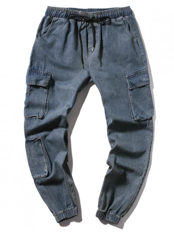 fashion Multi-pocket Long Drawstring Jogger Jeans - DENIM DARK BLUE M