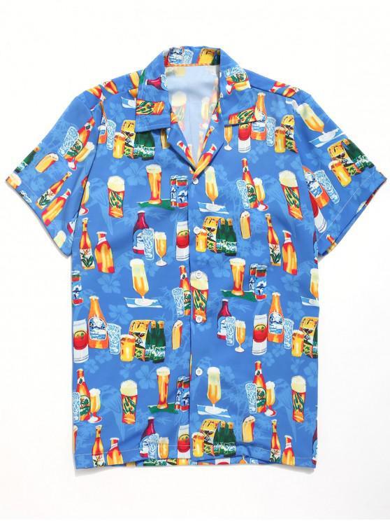 ladies Drinks Flowers Leaves Print Beach Shirt - DODGER BLUE XL