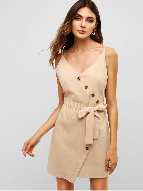 lady ZAFUL Belted Buttoned Cami Dress - APRICOT L