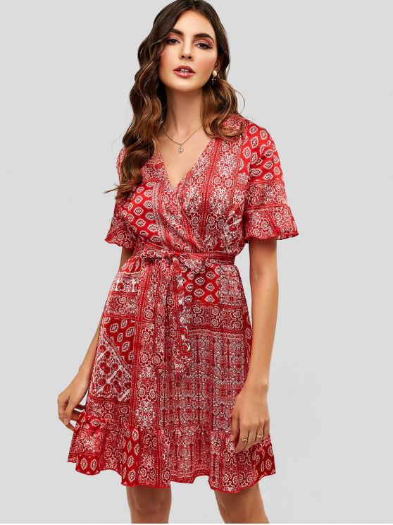 latest Belted Printed Ruffles Surplice Dress - RED S