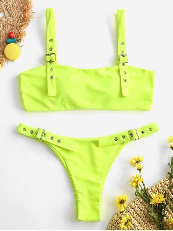 shops ZAFUL Buckle Low Waisted Bikini Set - GREEN YELLOW M