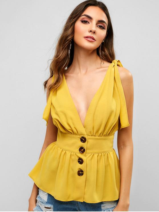 shops ZAFUL Knotted Button Up Tank Top - SUN YELLOW S