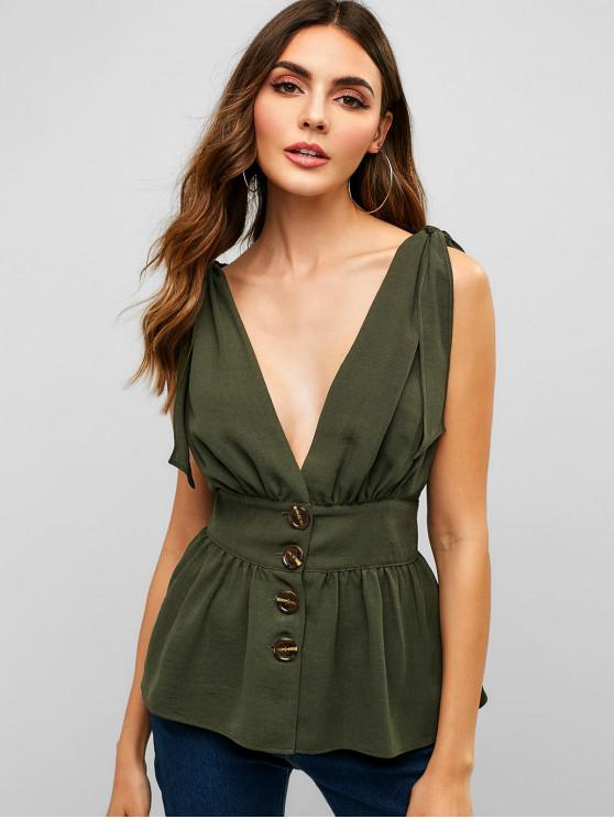chic ZAFUL Knotted Button Up Tank Top - ARMY GREEN L