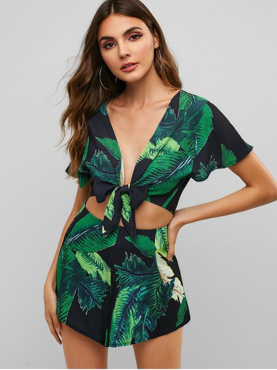 fashion ZAFUL Leaf Print Knotted Two Piece Shorts Set - BLACK M