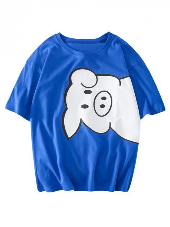 Piggy Print Casual T-Shirt - Blau XL