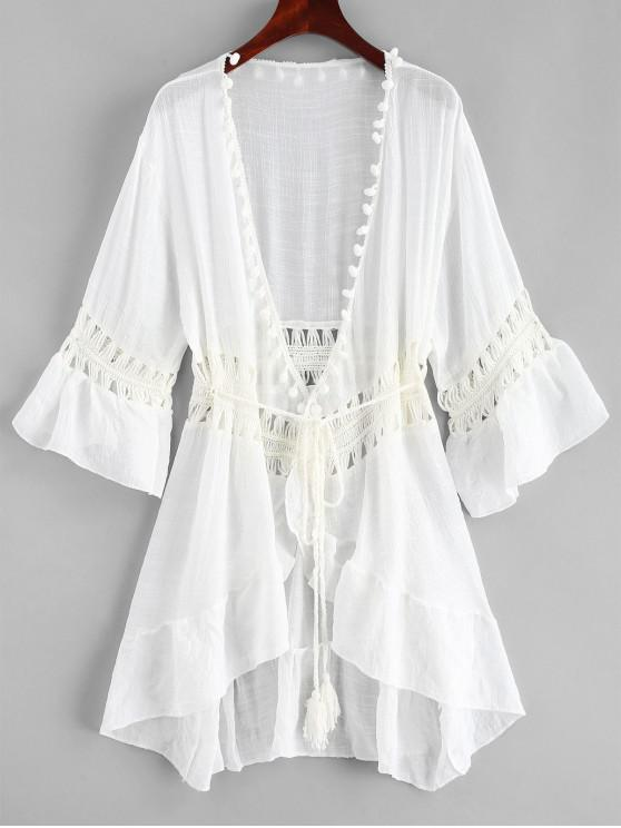fancy Pom-pom Crochet Panel Beach Dress - WHITE ONE SIZE