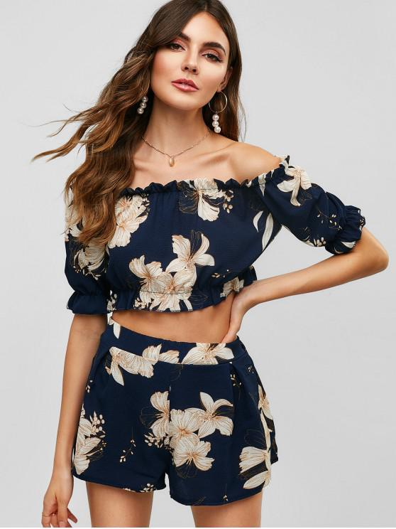 hot Off Shoulder Floral Top And Shorts Set - MIDNIGHT BLUE M