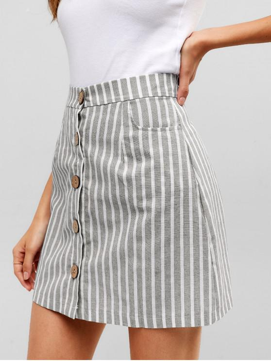 chic Striped Button Through Woven Mini Skirt - GRAY XL
