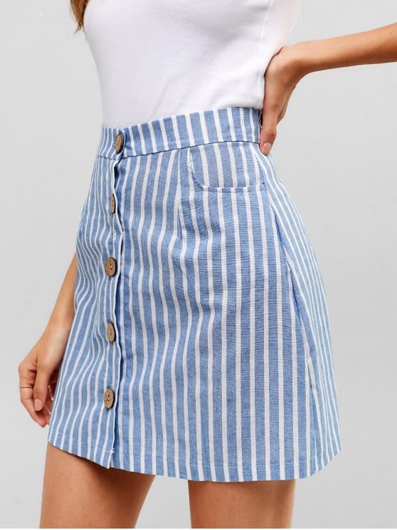 fancy Striped Button Through Woven Mini Skirt - DENIM BLUE M