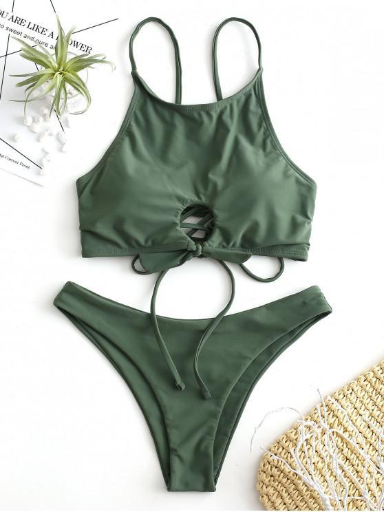 women ZAFUL Lace Up Keyhole Tied Bikini Set - MEDIUM FOREST GREEN M
