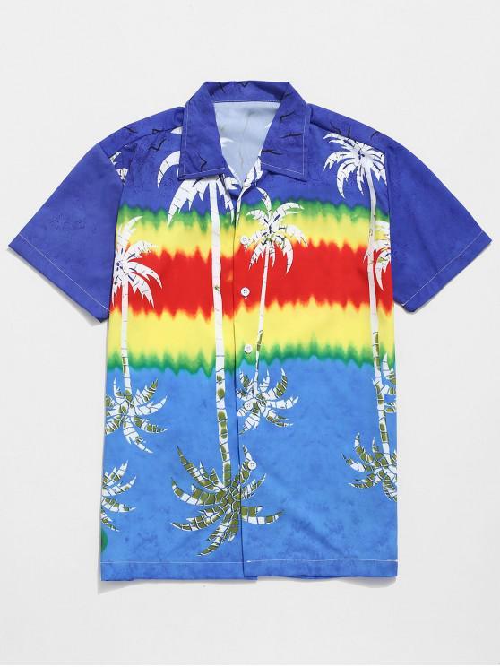 11cc2de990a 21% OFF  2019 Tie Dye Coconut Palm Reflection Print Beach Shirt In ...