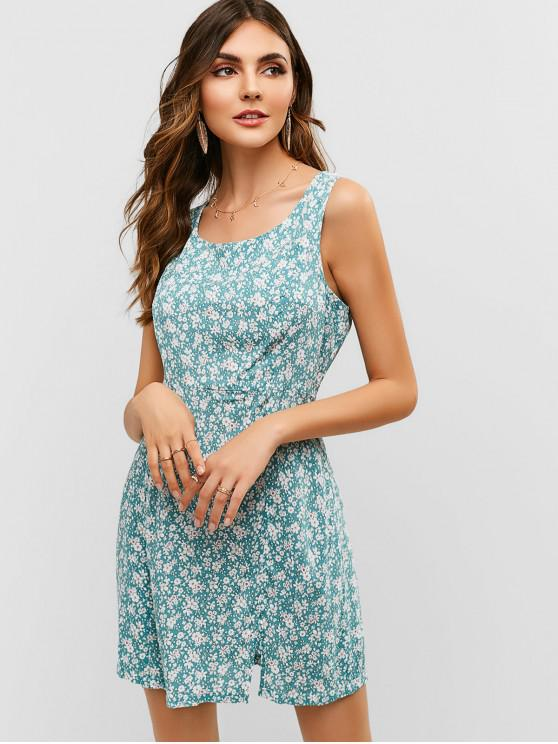 ladies ZAFUL Scoop Floral Slit Sleeveless Dress - CYAN OPAQUE S