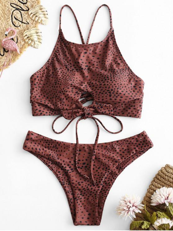 fancy ZAFUL Spotted Lace Up Keyhole Bikini Set - MULTI-A M