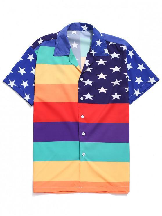 Amerikanisches Flaggen-Druck-beiläufiges Hemd - Multi L
