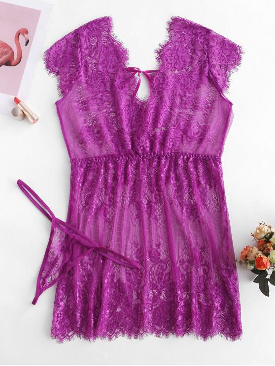 trendy Tie Eyelash Lace Babydoll - MEDIUM ORCHID XL