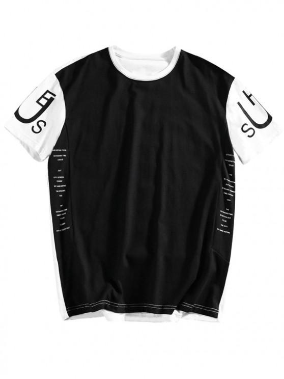 ladies Letters Printed Color Block T-shirt - BLACK 2XL