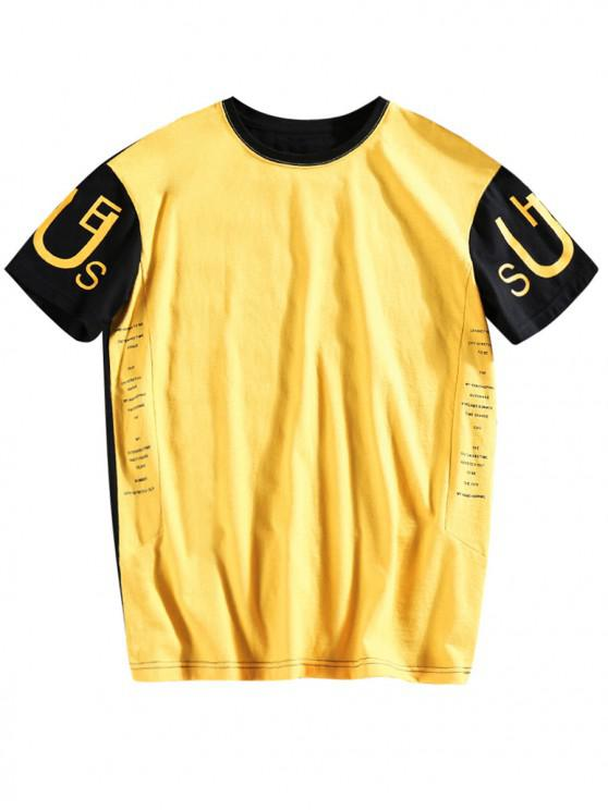 lady Letters Printed Color Block T-shirt - YELLOW M