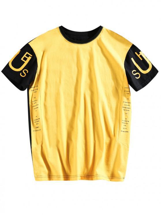 T-shirt Lettre Imprimée en Blocs de Couleurs - Jaune 2XL