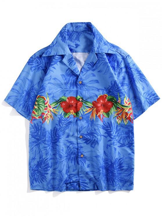 Blumen-Pflanzen-Print-Shirt mit kurzen Ärmeln - Kornblumenblau L