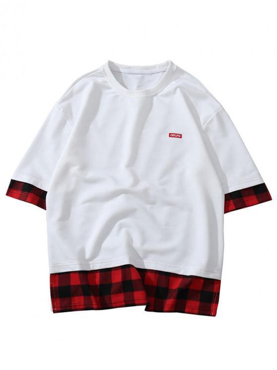 Applique Plaid Splicing camiseta casual - Blanco M