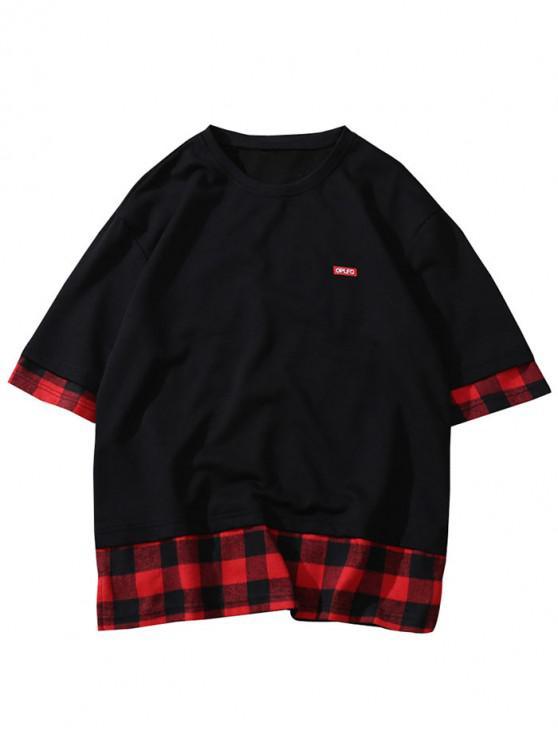 T-shirt Décontracté Applique Jointif à Carreaux - Noir M