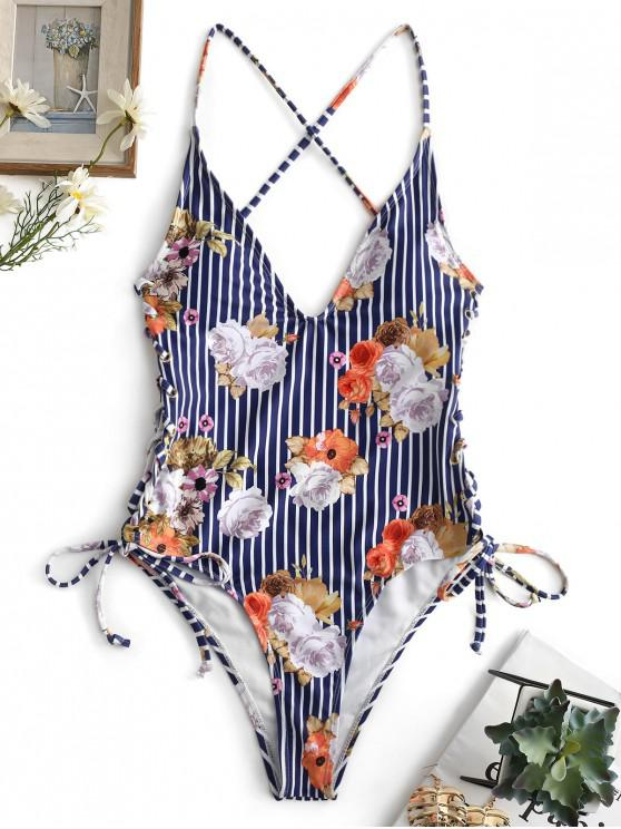 online ZAFUL Floral Striped Lace Up Backless Swimsuit - MULTI-A L