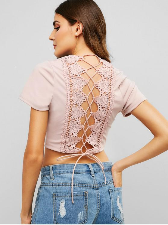 womens Lace Panel Crop Lace Up Tee - PINK M