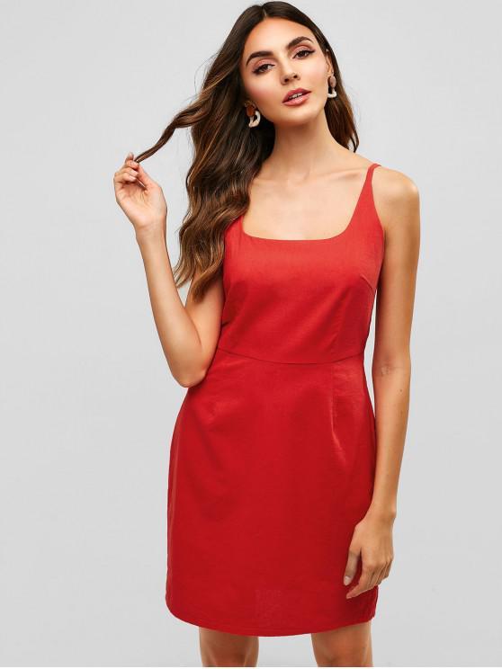 Vestido camuflado con cremallera en la espalda lisa - Rojo M