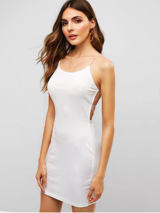 lady ZAFUL Open Back Lace Up Bodycon Dress - WHITE L