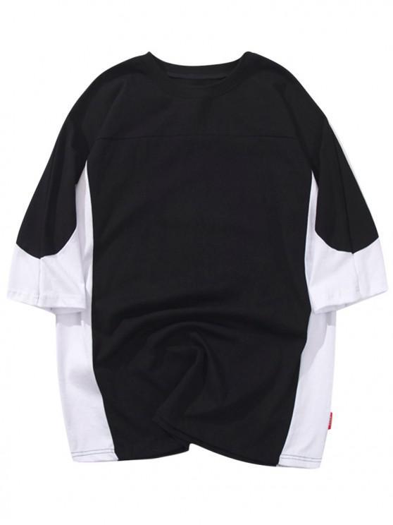 affordable Raglan Sleeves Block Color Casual T-shirt - BLACK XL