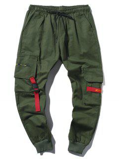 Applique Long Cargo Jogger Pants - Army Green Xs