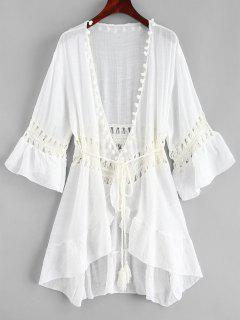Pom-pom Crochet Panel Beach Dress - White