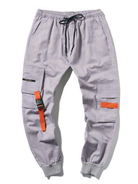 sale Applique Long Cargo Jogger Pants - LIGHT GRAY S Mobile