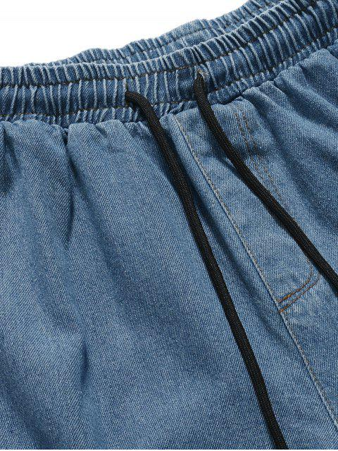affordable Solid Color Casual Jogger Jeans - DENIM BLUE L Mobile