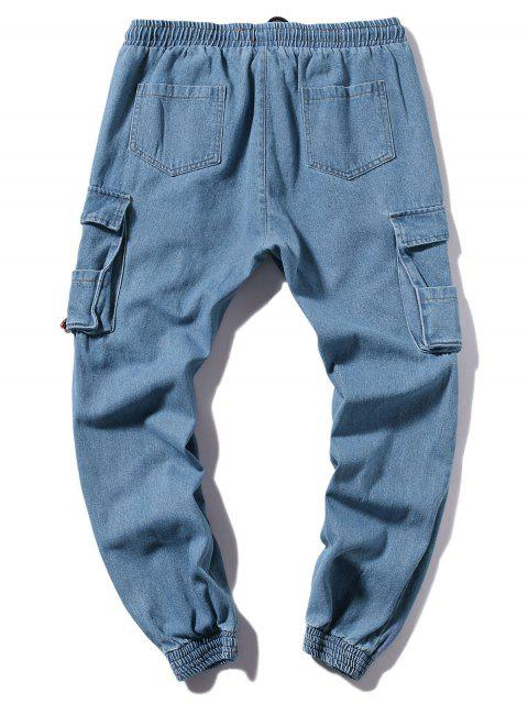 buy Solid Color Casual Jogger Jeans - DENIM BLUE XL Mobile