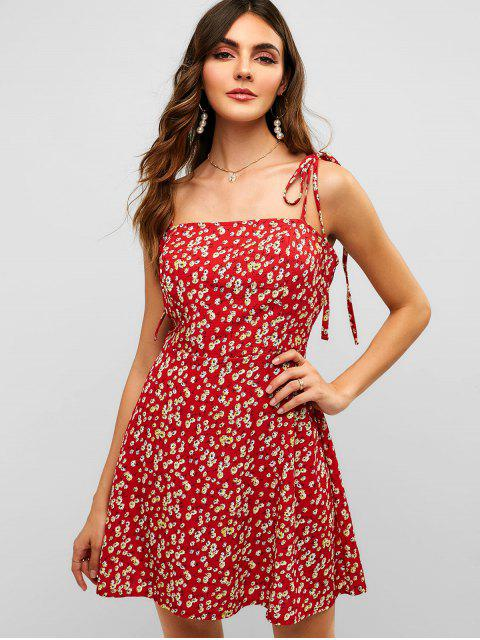 fancy ZAFUL Floral Tie Strap Apron Mini Sundress - LAVA RED S Mobile
