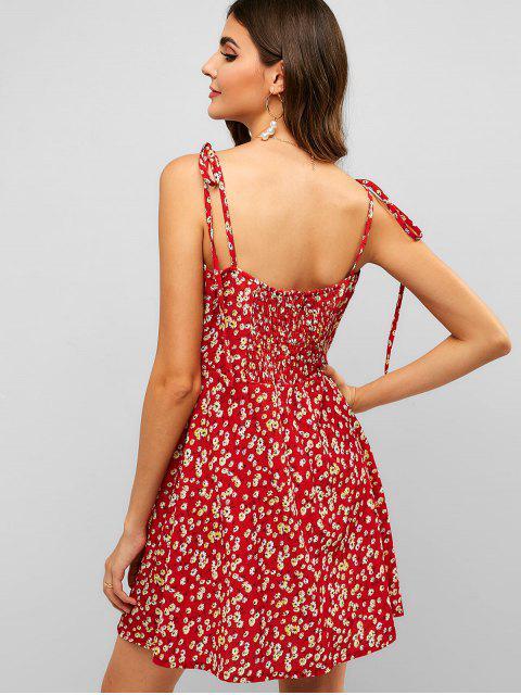 ZAFUL Gebundendes Blumen- Schür- Mini- Sommerkleid - Lava Rot M Mobile