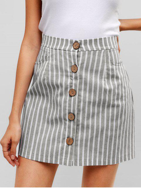 chic Striped Button Through Woven Mini Skirt - GRAY XL Mobile