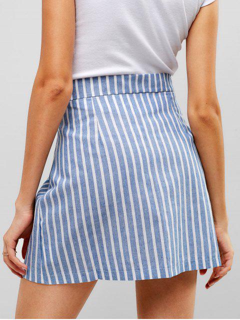 fancy Striped Button Through Woven Mini Skirt - DENIM BLUE M Mobile