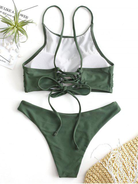 women ZAFUL Lace Up Keyhole Tied Bikini Set - MEDIUM FOREST GREEN M Mobile