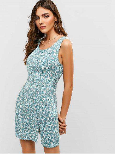 ladies ZAFUL Scoop Floral Slit Sleeveless Dress - CYAN OPAQUE S Mobile